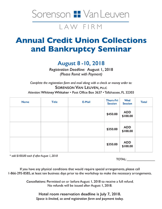 Annual Credit Union Collections and Bankruptcy Seminar - Sorenson